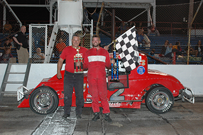 Three things had to fall into place for Ryan Boorsma to win the Vintage Modified feature at Anderson Speedway, all three did for him to claim the victory.